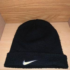 Nike Swoosh Plain Logo Winter Beanie Hat Vtg Black